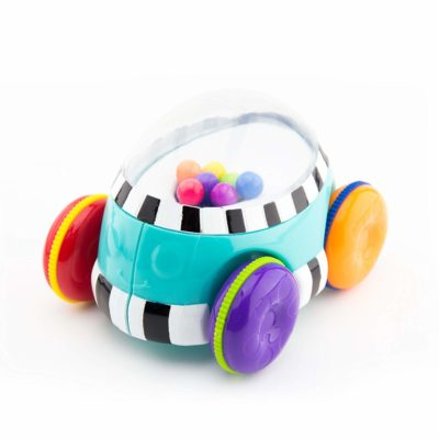 This is an image of a colorful pop and push toy vehicle.