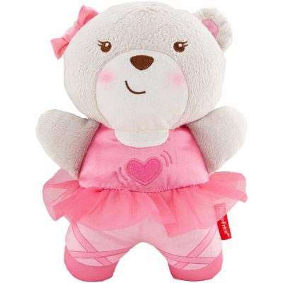 This is an image of a pink snug bear soother for babies.