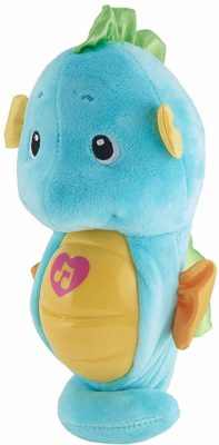 This is an image of a blue musical soothe & glow seahorse for babies.