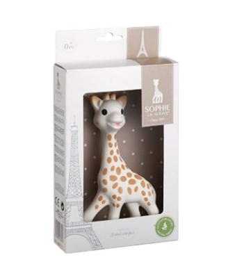This is an image of a polka dots giraffe teether for babies.