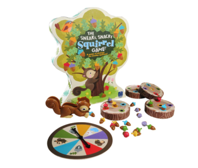 This is an image of a Sneaky, Snacky Squirrel board game for kids.