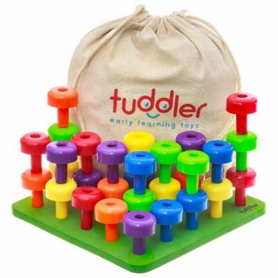 This is an image of a colorful stackable peg board set for kids.
