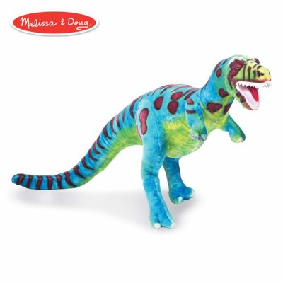 This is an image of a giant T-rex stuffed toy by Melissa and Doug.