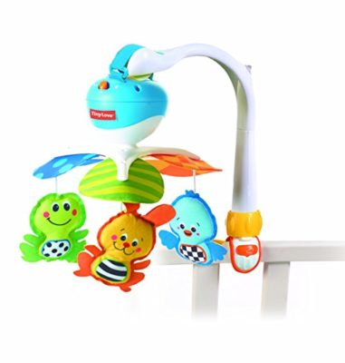 This is an image of a blue animal take along mobile for babies.