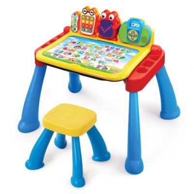 This is an image of a touch and learn activity desk for toddlers.