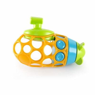 This is an image of a yellow submarine bath toy for toddlers.