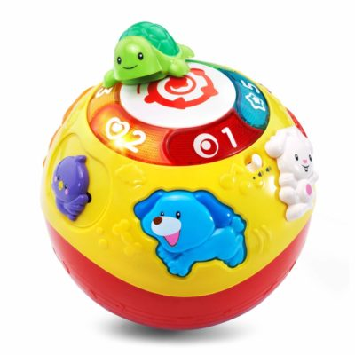 This is an image of a colorful wiggle and crawl ball for toddlers.