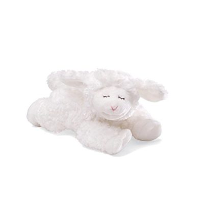 This is an image of a white 7 inch lamb plush rattle for babies.