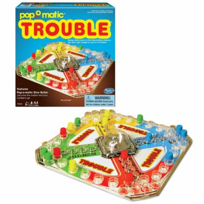 This is an image of a Trouble classic board game designed for kids.