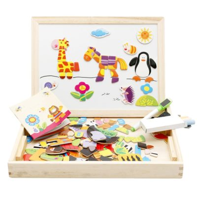 This is an image of an Educational wooden magnetic easel for kids.