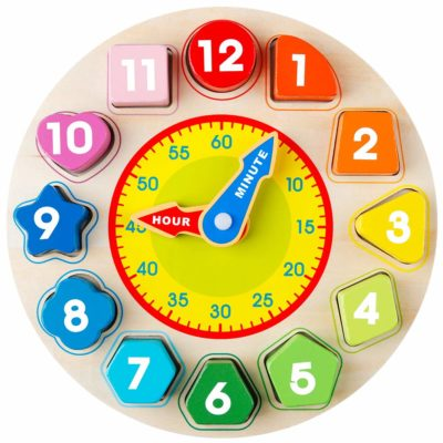 This is an image of a colorful wooden shape sorting clock for kids.