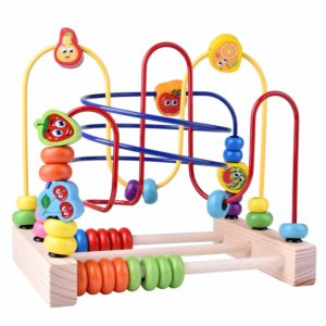 Wooden Toys, Beads Maze Roller Coaster Educational Toys for Toddlers