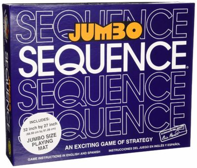 This is an image of a jumbo sequence board game by Jax.
