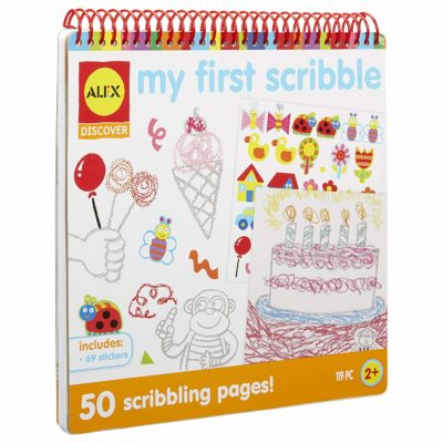 This is an image of a My First Scribble activity book for kids.
