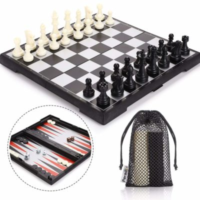 This is an image of a 3 in 1 magnetic folding chess set with storage bags by Peradix.