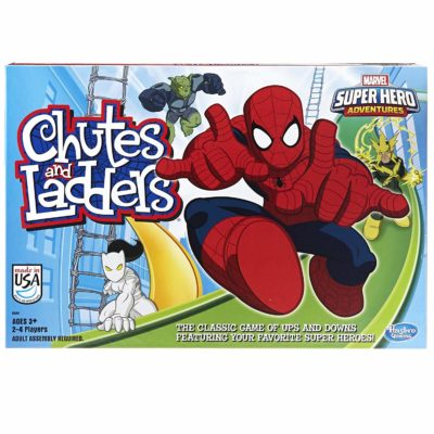 This is an image of a Spider-Man Chutes & Ladders board game for kids.