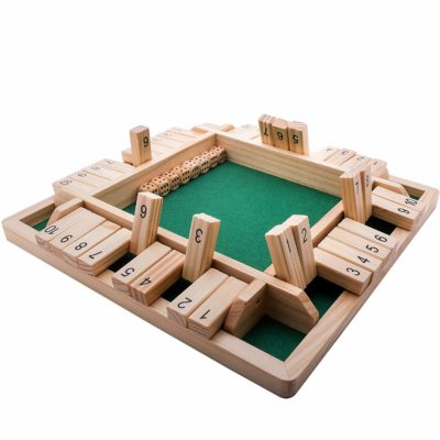 This is an image of a wooden box dice game by GrowUpSmart.