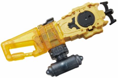 This is an image of a long yellow bey launcher by Takara Tomy.