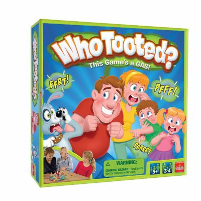 This is an image of a Who Tooted? board game by Goliath Games.