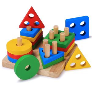 BettRoom Toddler Toys Wooden Educational Preschool Shape Color Recognition Geometric Board Block