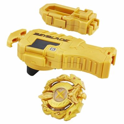 This is an image of a yellow beyblade masket kit toy set.