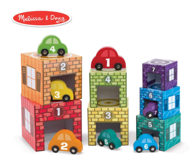 This is an image of a colorful cars match and stack game for kids.