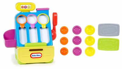 This is an image of a colorful cash register play set for kids.