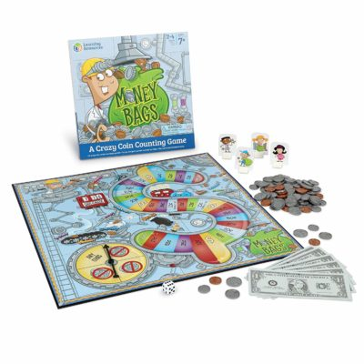 This is an image of a Money Bags game board by Learning Resources.