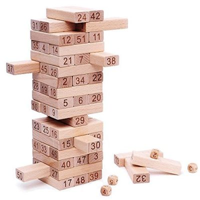 This is an image of a wooden tumbling tower game by NimNik.