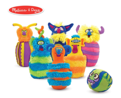 This is an image of a plush monster bowling set for kids.