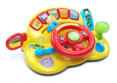 This is an image of a yellow steering wheel toy for kids.