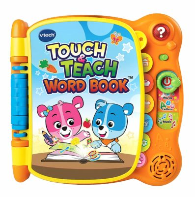This is an image of an orange toy book for kids.