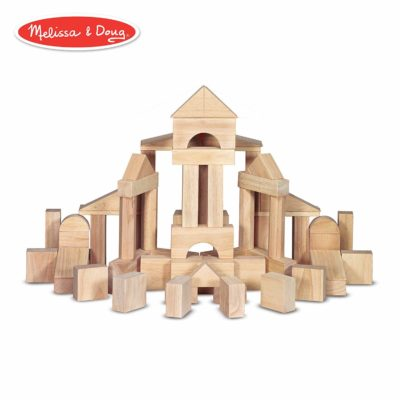 This is an image of a 60 piece solid wood blocks by Melissa and Dough.