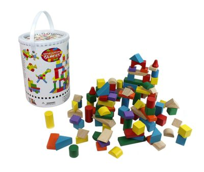 This is an image of a 100 piece colorful wooden building blocks set.