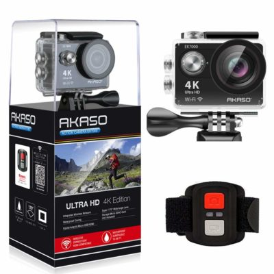 This is an image of a black 4k WiFi action camera by AKASO.