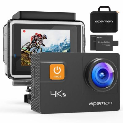 This is an image of a black waterproof action camera by APEMAN.