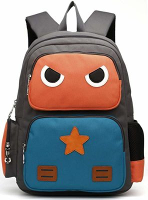 This is an image of an orange and green backpack for kids by ArcEnCiel.