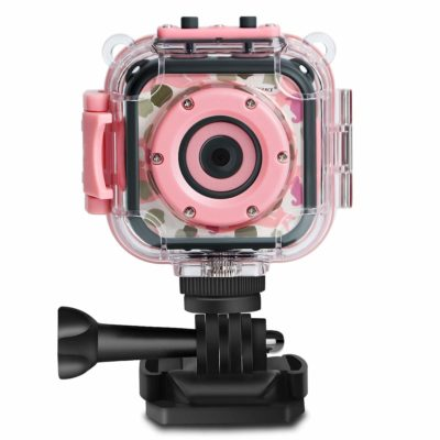 This is an image of a pink waterproof action camera for kids.