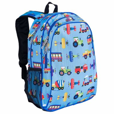 This is an image of a 15 inch backpack with trains, planes, and trucks prints by Wildkin.