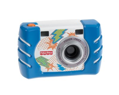 This is an image of a blue digital camera by Fisher Price.