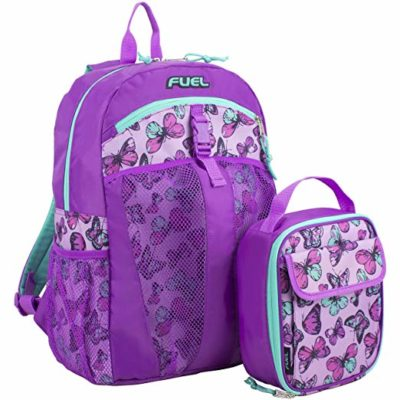 This is an image of a purple backpack and lunch bag by Fuel.