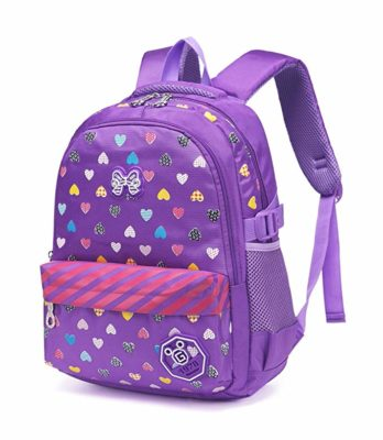This is an image of a purple backpack with hearts print by Bluefairy.