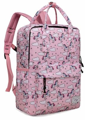 This is an image of a pink unicorn backpack by Kasqo.
