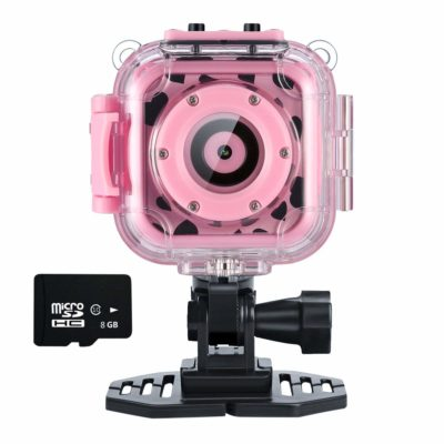 This is an image of a pink action camera with memory card by Ourlife.