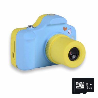 This is an image of a 1.5 inch blue mini digital camera with SD card by PANNOVO.