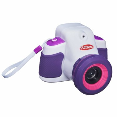 This is an image of a white and purple digital camera and projector by Playskool.