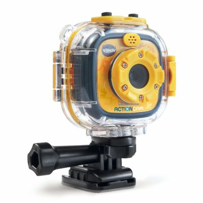 This is an image of a yellow kidizoom action camera by VTech.