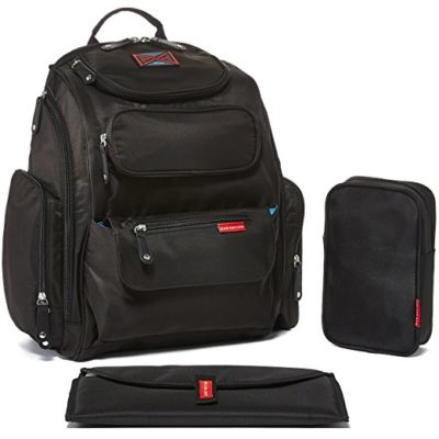 This is an image of a black diaper backpack with stroller strap by Bag Nation.