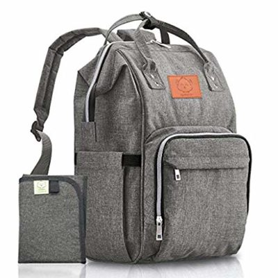 This is an image of a large classic gray diaper bag backpack by KeaBabies.