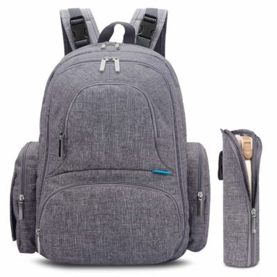 This is an image of a grey baby diaper travel backpack with accessories by CoolBell.
